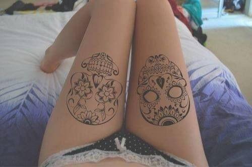 Santa Muerte tattoo, sugar skull