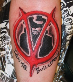 Cool V for Vendetta arm tattoo