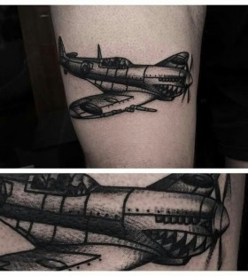 Cool airplane tattoo by Charley Gerardin