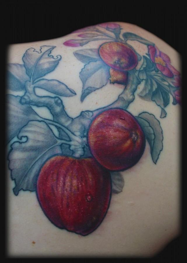 Cool apple branch tattoo