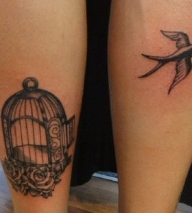 Cool birdcage leg tattoo