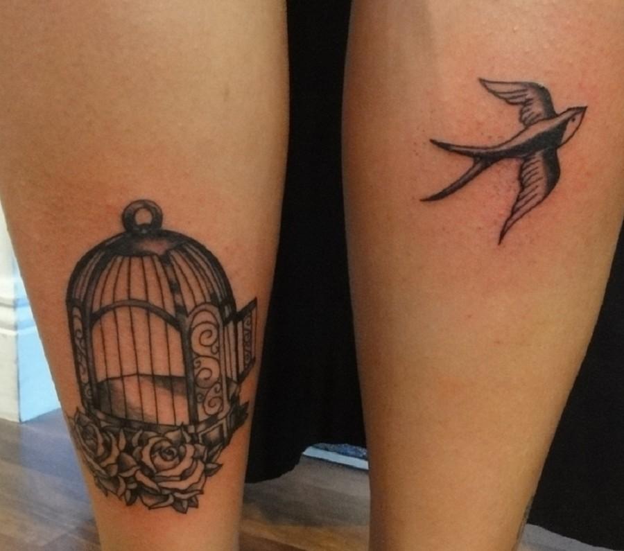 Cool birdcage leg tattoo