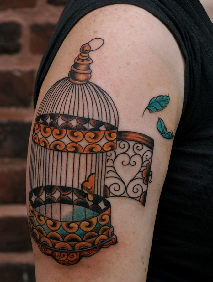 Cool birdcage tattoo design