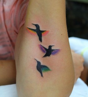 Cool birds family love tattoo