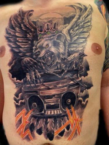 Cool boombox and bear chest tattoo