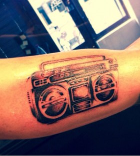 Cool boombox arm tattoo