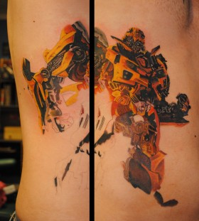 Cool bumblebee side tattoo