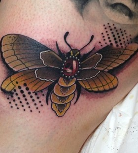 Cool coloured moth tattoo