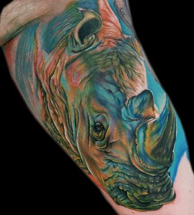 Cool coloured rhino tattoo