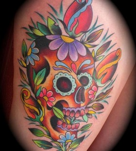 Cool colourful skull and flowers tattoo
