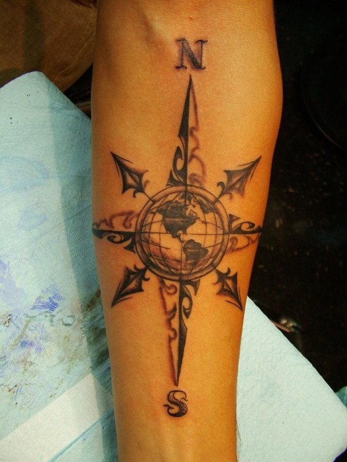 Cool compass town tattoo