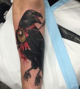 Cool crow tattoo by Dan Molloy