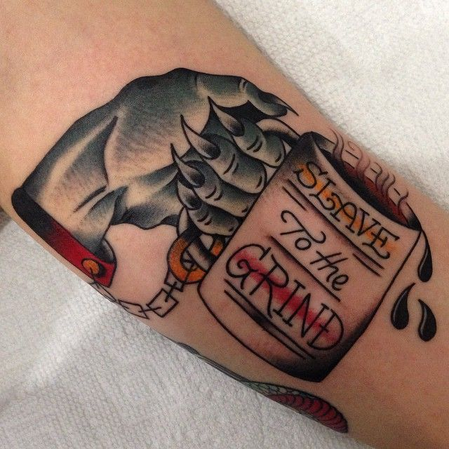 Cool cup in hand tattoo by Nick Oaks