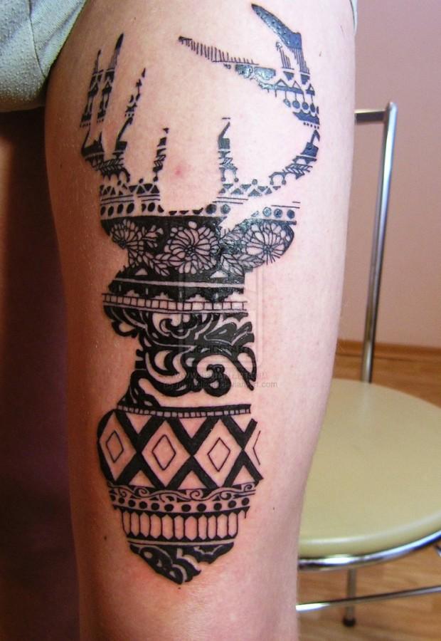 Cool design deer tattoo