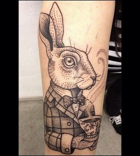 Cool dressed up rabbit tattoo by Susanne König