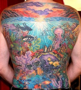 Cool full back ocean tattoo