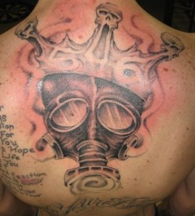 Cool gas mask back tattoo
