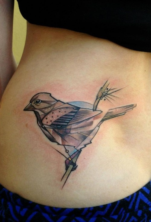Cool geometric bird tattoo