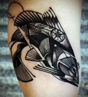 Cool geometric fish tattoo