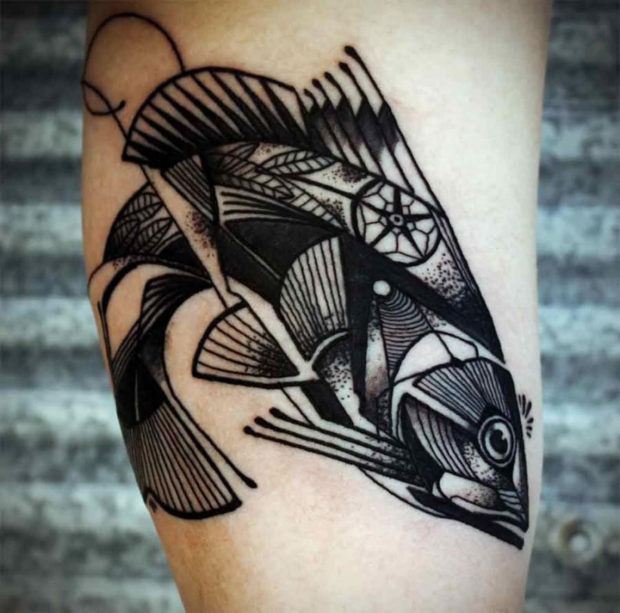 Cool geometric fish tattoo