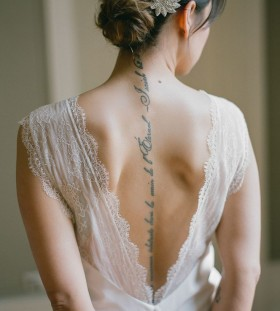 Cool girl back bride tattoo