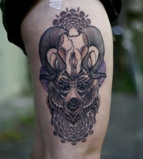 Cool goat skull leg tattoo