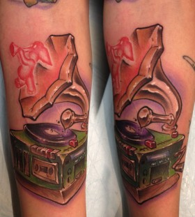 Cool gramophone and elephant tattoo