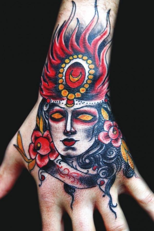 Cool hand tattoo by Eva Huber