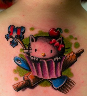 Cool hello kitty back tattoo