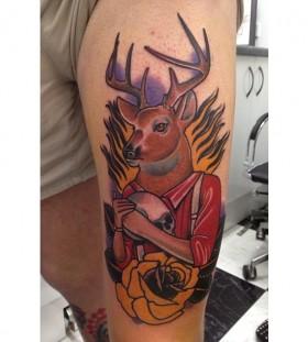 Cool human deer tattoo by Dan Molloy