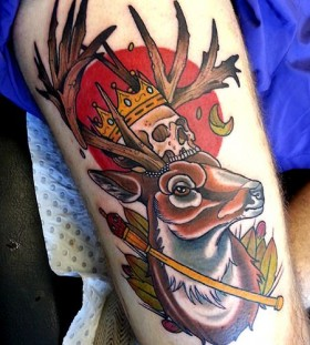 Cool king deer tattoo by Drew Shallis