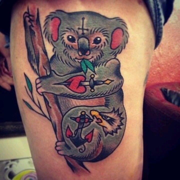 Cool koala bear tattoo