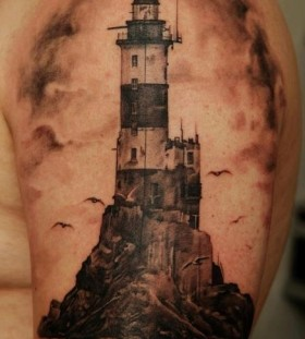 Cool lighthouse tattoo by Dmitriy Samohin