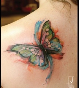 Cool looking watercolor butterfly tattoo