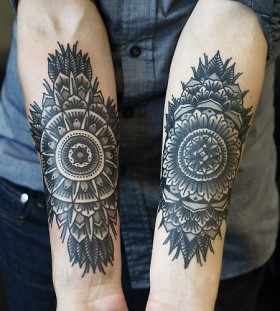 Cool mandala arm tattoos by Philip Yarnell