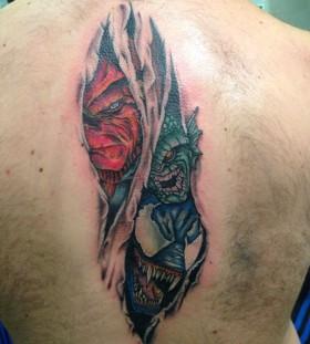 Cool marvel's vilains back tattoo