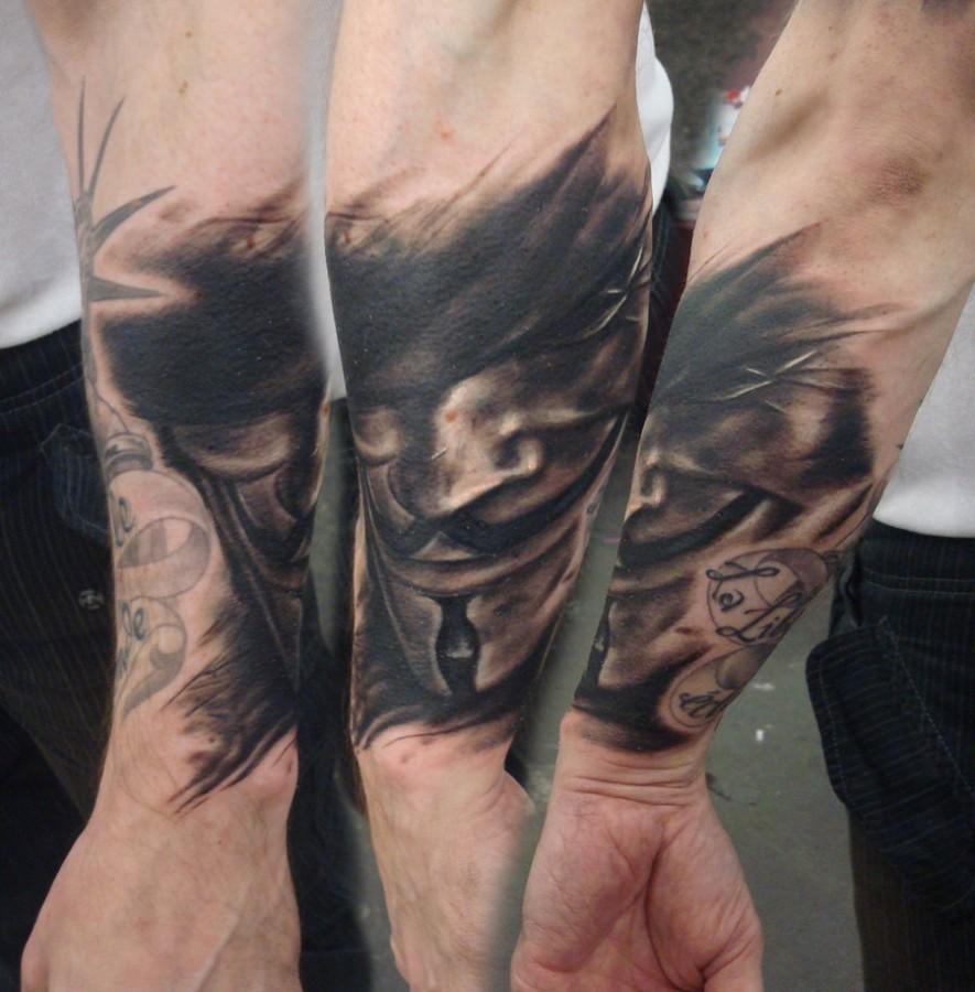 Cool mask of V tattoo