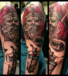 Cool masks tattoo by Jon Mesa