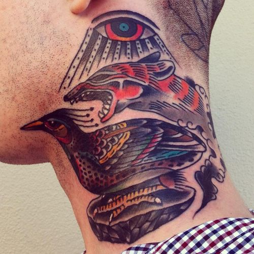 Cool neck tattoo by James McKenna