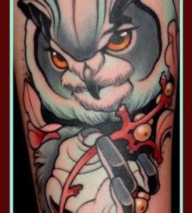 Cool owl tattoo by Lars Uwe Jensen