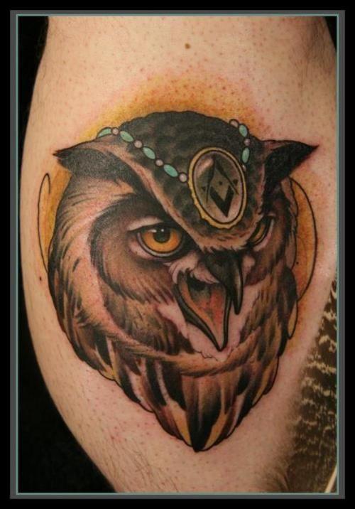 Cool owl tattoo design