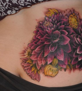 Cool purple dahlia tattoo