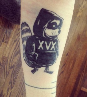 Cool raccoon arm tattoo