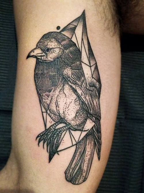 Cool raven tattoo by Michele Zingales
