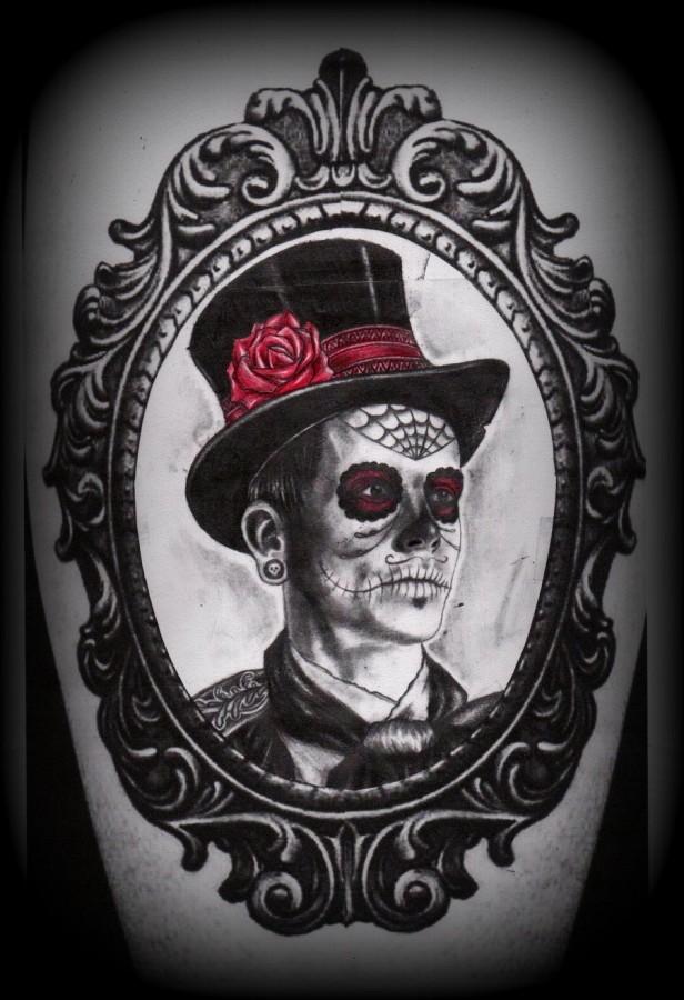 Cool skeleton man frame tattoo