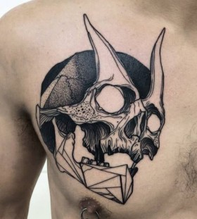 Cool skull tattoo by Michele Zingales