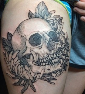 Cool skull tattoo by Rachel Hauer