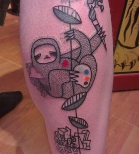 Cool sloth leg tattoo