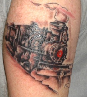 Cool smoking train tattoo