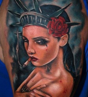 Cool statue of liberty tattoo by Kyle Cotterman